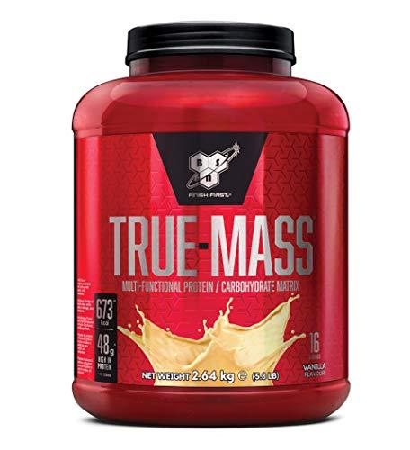 BSN True Mass Weight Gainer Eiweißmischung Pulver (enthält Whey, Casein, Glutamin und Kohlenhydrate, Protein Shake von BSN) vanilla milkshake, 16 Portionen, 2,64kg