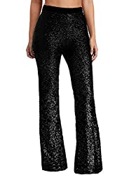Black-43 Sequin Bell Bottoms Trousers