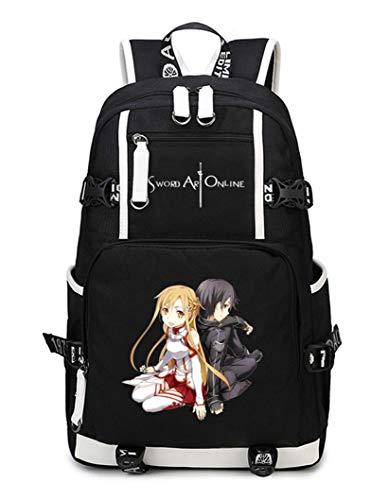 Cosstars Sword Art Online Sao Anime Mochila Escolar Estudiante Bolso de Escuela Backpack Mochila para Portátil Negro-15