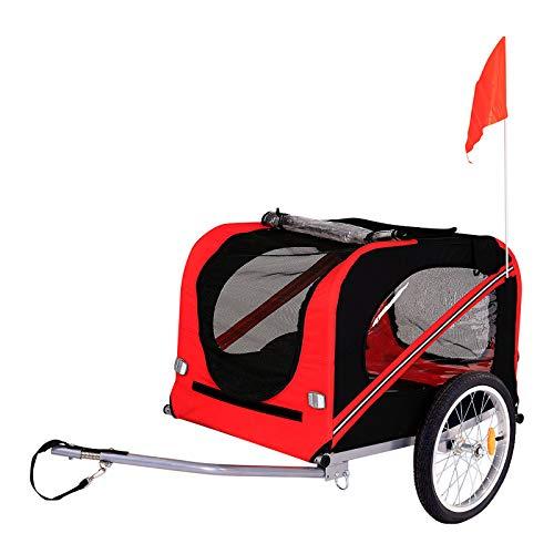 Dibea PT10755, Rimorchio Bicicletta per Cani con Frizione e Cinture di Sicurezza, Rosso/Nero