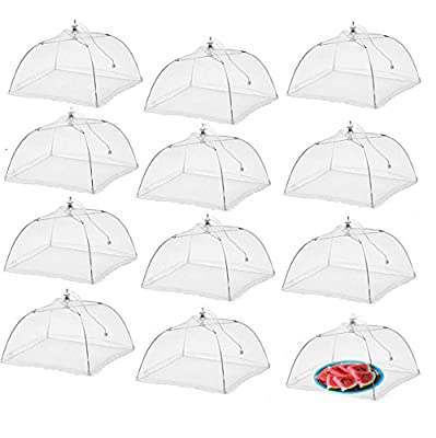 Simply Genius (12 pack) Large and Tall 17x17 Pop-Up Mesh Food Covers Tent Umbrella for Outdoors, Screen Tents Protectors For Bugs, Reusable and Collapsible
