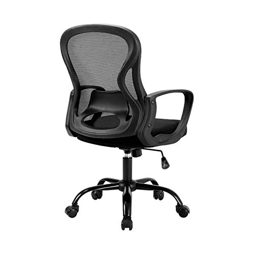 WSDSX Household Office Chair Mid Back Mesh Desk Chair with Shaking Function Ergonomic Lumbar Support Computer Chair Swivel Rolling Task Chair with Armrest (Color : Black)