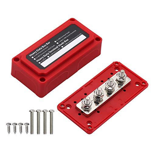 """T Tocas 300A Sammelschienen Hochleistungsmodul Design Stromverteilungsblock Sammelschienenkasten mit 4X M8 (5/16 """") Klemmenbolzen Rote Abdeckung"""