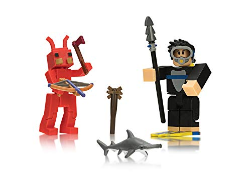 Roblox Action Collection - Fish Simulator: Diver + Booga Booga: Fire Ant Two Figure Bundle [Includes 2 Exclusive Virtual Items]