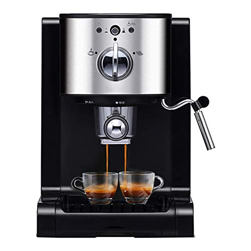 Cafetiere Expresso, Mousseur à Lait pour Cappuccino Pression de 20 bars/1.5L Amovible Réservoir D'eau/1350 watts Extraction à double pores/pour le domicile/bureau - Noir