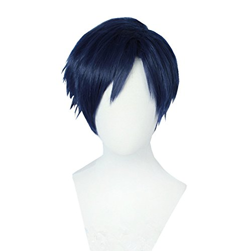 Bingooutlet Dark Blue Short Layered Cosplay Wig Halloween Party Hair Costume Fancy Dress