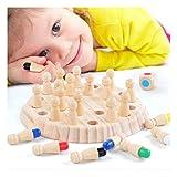Notdark Kinder Gedächtnis Schach, Kinder Holzspielzeug Montessori Spielzeug Gedächtnistraining zur Entwicklung der Erinnerung & Lernen von Farben (A) -