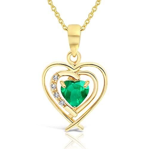 Planetys – Collar de corazón de oro 375/1000 engastado esmeralda natural – Longitud 42 – 45 cm