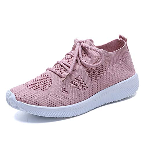 Deloito Damen Sneaker Leichte Modische Turnschuhe Fliegendes Weben Socken Sport Schuhe Schüler Freizeit Atmungsaktiv Laufschuhe (40 EU, Rosa-05)