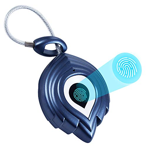 SY20 - Candado de huellas dactilares con USB, resistente al agua IP65, candado sin llave, candado para equipaje, protección de huellas dactilares contra robo de huellas dactilares, color azul