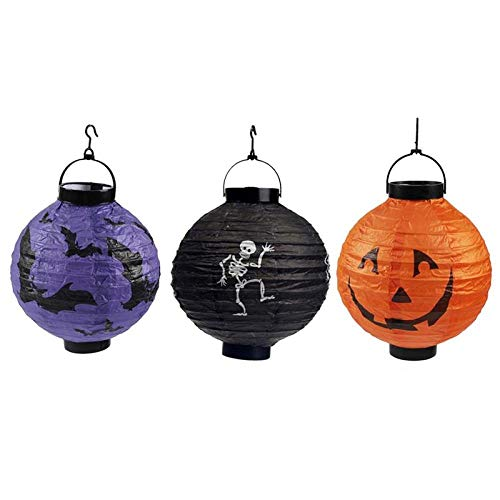 Winpavo Halloween-Deko Halloween Party Requisiten 3 Unids Halloween Linterna De Papel Creativa Plegable Calabaza Esqueleto Bat Light Led Lantern Decoraciones De Fiesta para Halloween