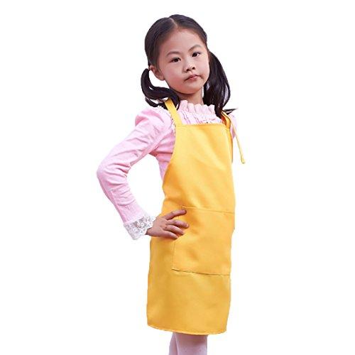 LissomPlume Kind Malschürze Kunstkittel Kinderschürze Kochschürze Arbeitsschürze Painting Supplies - gelb