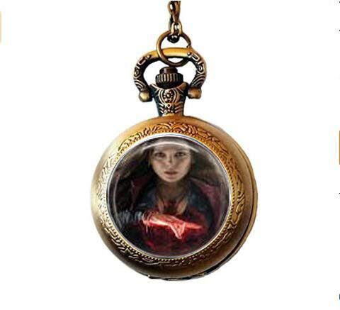 Scarlet Witch & Quicksilver Movie Pocket Watch Necklace