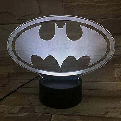 Dc Justice League Batman Logo Usb 3D Led Night Light Cartoon Supereroe Ragazzi Bambino Bambini Regali Di Compleanno Lampada Da Comodino(Telecomando Per Telefono Cellulare)