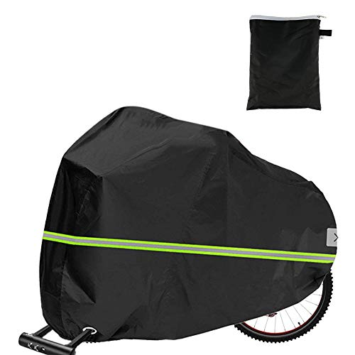 Bike Cover for Outside Storage, Bike Cover with Green Reflective Strips 210D Oxford Waterproof Bicycle Cover Dust Cover for Mountain Bike Road Bike with Storage Bag