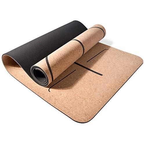 Joycaling Esterilla de yoga de 183 x 65 cm, antideslizante, de corcho, PVC, para ejercicios y ejercicios para principiantes y yogis avanzados (tamaño: 183 x 65 cm, color: azul)