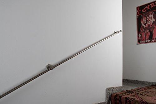 Ledstång diameter 20 mm, längd: 120 cm, borstat rostfritt stål – belastning upp till 80 kg – komplett