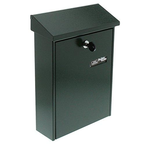 BURG-WÄCHTER Briefkasten mit aufklappbarem Regendach, A5 Einwurf-Format, Verzinkter Stahl, Daily 5861 GR, Grün