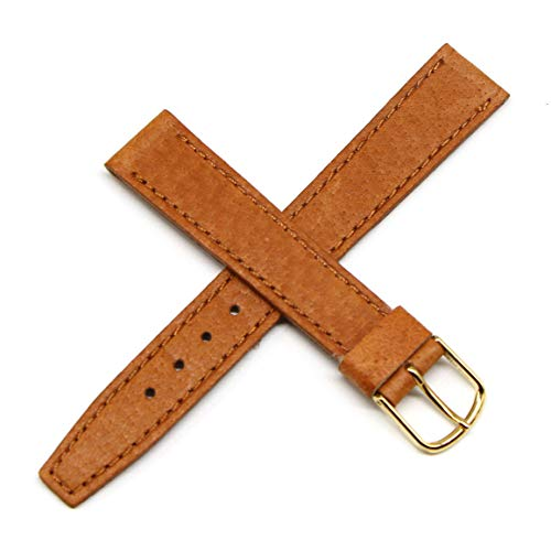 Lucien Piccard Dufonte 16MM Brown Genuine Pigskin Leather Watch Strap 7.5 Inches with Gold Buckle