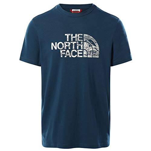 The North Face Men's S/S Woodcut Dome Tee T-Shirt, M. Blue, L Uomo