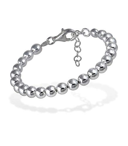 EMPATHY JEWELS - Pulsera Bolas Plata de Ley 925 Mujer en 3, 4 y 6 mm - Las pulseras de plata mujer son joyas para hacer regalos originales de cumpleaños a amigas - joyeria mujer plata con caja regalo