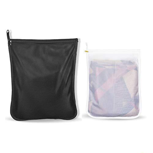 洗濯ネット ランドリーネット ランドリーバッグ 絡み防ぎ 型崩れ防止 傷み防止 細かい網目 角型 セーター、コート、シャツなど適用 丈夫 家庭用 収納用 黒&白 2pack(M+L)