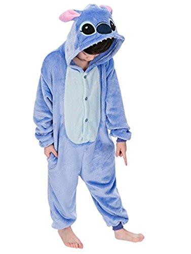 Unisexo Comodidad Suave Franela Disfrace Animales Bebe Kigurumi Traje de Dormir Cosplay Ropa de Salón Pijamas Animal para Niños Niñas Anime Fiesta (Stitch Azul, L)