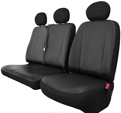 Rimers Autositzbezüge Sitzbezüge maßgefertigte Bus (Sitzbezüge für Fahrersitz und Doppelbank Vorne) Kunstleder Schonbezüge in Schwarz