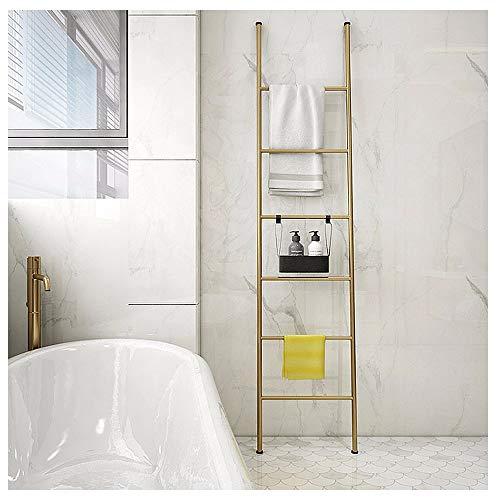 Deken Ladder Zwart Metaal met 6 Rungs, Wandleunend Decoratieve Quilt Display Rack Ladder voor Badkamer, Slaapkamer, Wasruimte