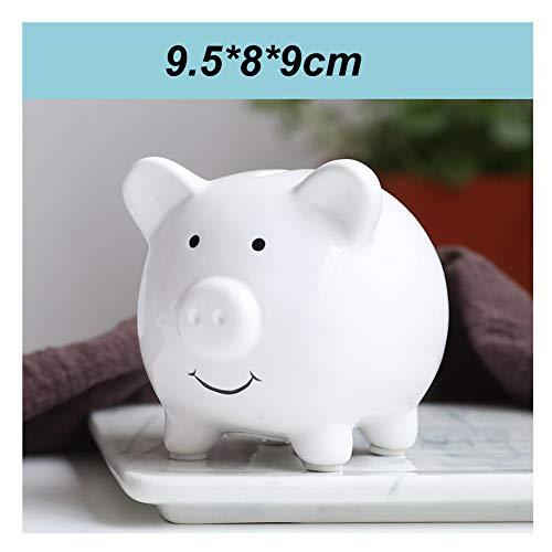 HJSGXXN Cumpleaños del niño pequeño Cerdo de cerámica Hucha Niño Money Bank Presente Kinder decoración Regalo de la Moneda Vacaciones Can (Color : White)