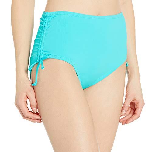24th & Ocean Women's High Waist Side Tie Hipster Bikini Swimsuit Bottom, Lagoon, M