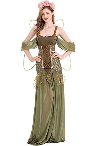 shoperama Zauberhafte Waldelfe Damen Kostüm mit Flügeln Fee Pixie Tinkerbell Elfe GOT Mittelalter, Größe:M