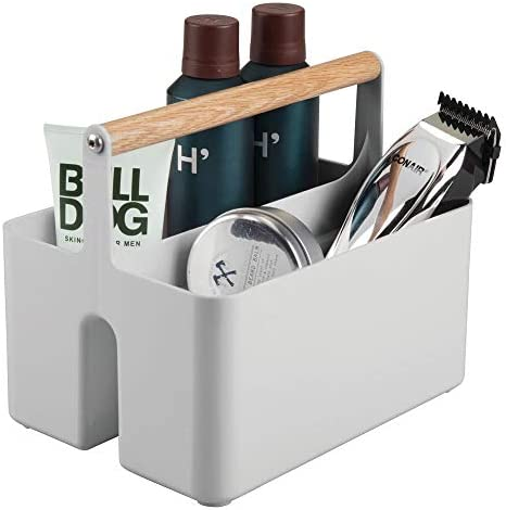 mDesign Plastic Portable Storage Organizer Utility Caddy Tote Divided Basket Bin with Wood Handle product image