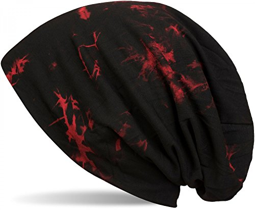 styleBREAKER Beanie Mütze mit Batik Muster, Vintage Washed Look, Slouch Longbeanie, Unisex 04024081, Farbe:Schwarz-Rot