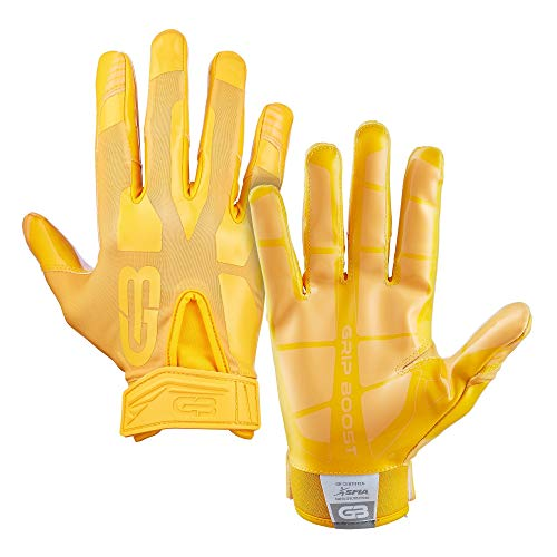 Grip Boost Stealth Solid Color Football Gloves Pro Elite - Adult Sizes (Yellow, Adult Medium)
