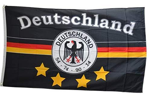 Flaggenfritze® Fanflagge Fußball Fahne Deutschland schwarz mit 4 Sternen - 90 x 150 cm