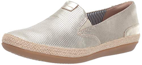 Clarks Women's Danelly Iris Loafer Flat, Champagne Leather, 10 M