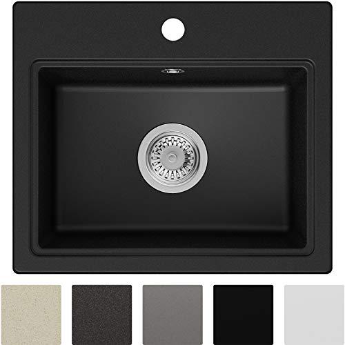 Spülbecken Schwarz 51 x 43,5 cm, Granitspüle + Siphon Klassisch, Küchenspüle ab 50er Unterschrank in 5 Farben mit Siphon und Antibakterielle Varianten, Einbauspüle von Primagran