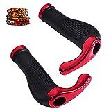 Qianyou - Puños para manillar de bicicleta, 2 mangos ergonómicos, con cuerno (22 mm), rojo
