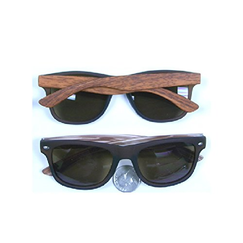 MyPartyShirt Gafas de sol Wayfarer negro con brazos de grano de madera sintética