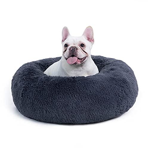 Bedsure Cama Antiestres Gato Grande - Cama Relajante Perro Mediano con Felpa Suave, Cojin Mascota Redonda de Pelo Lavable, Gris Oscuro, 60x60cm