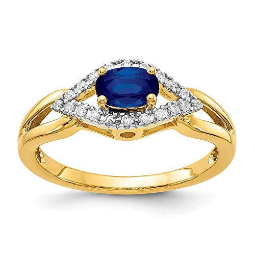 14k Yellow Gold Diamond and Sapphire Ring, Size 54