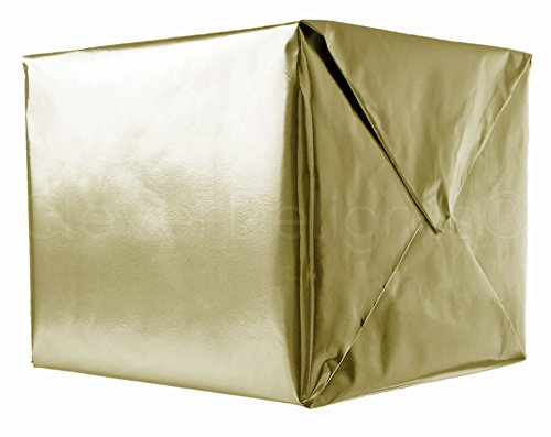CleverDelights Metallic Gold Wrapping Paper - 30' x 300' Jumbo Roll - 62.5 Sq Ft - Shiny Premium Gift Wrap Paper
