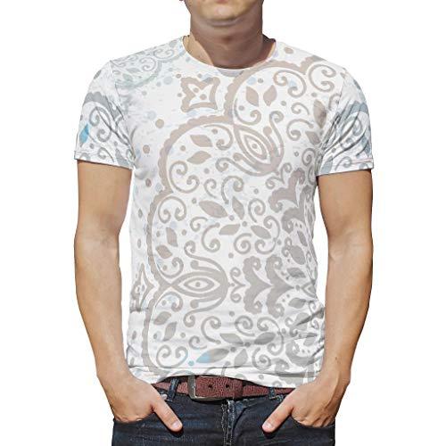 O3XEQ-8 Männlich Boho T-Shirts Jugendliche Top, Graue Mandala Schatz-Outfit - Indischer Stil Muster Atmungsaktiv und Bequem Hemd White 4XL