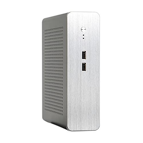 MY99 USHOMI Chasis Aluminio Mini Carcasa HTPC ITX Power USB2.0 Computadora de Escritorio con Fuente de alimentación para Mini-ITX Silver