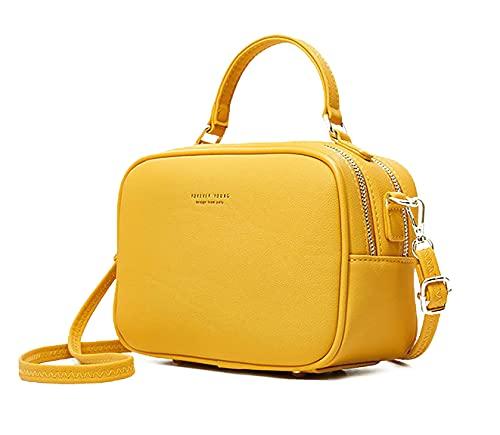 Pierre Loues - Bolso de mano para mujer, con asa, de piel sintética, estilo urbano y chic, para mujer, amarillo (Amarillo) - LB00565