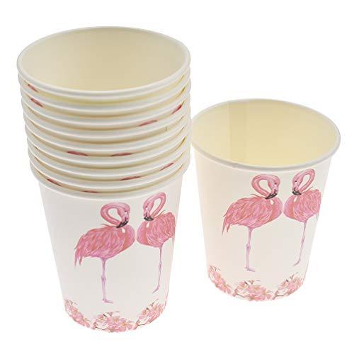 Hongma 10er Flamingo Pappbecher Party Set für 10 Personen Geburtstags Deko Tischdeko