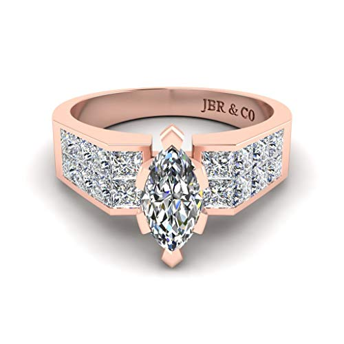 Jbr - Anillo de plata de ley de corte marquesa simple anillo de compromiso aniversario para mujer con caja de joyería