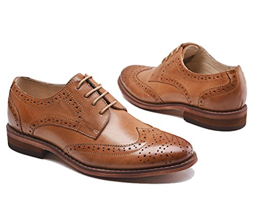 U-lite Brown Perforated Lace-up Wingtip Leather Flat Oxfords Vintage Oxford Shoes Womens 8.5 br