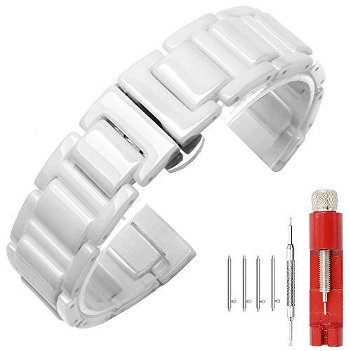 Kai Tian Cinturino Orologio in ceramica bianca per uomo 20mm chiusura deployante cinturino per orologio a sgancio rapido